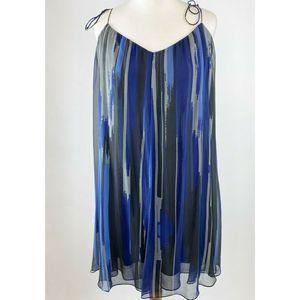 Halston Heritage Shift Dress Silk Tie straps